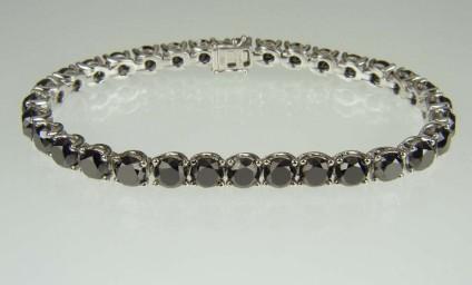 Black Diamond Bracelet - 18ct white gold bracelet set with 24 carats total weight of round brilliant cut black diamonds (each stone 0.75ct)