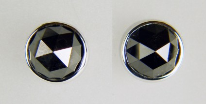 Rose cut black diamond earstuds in 18ct white gold - 4.08ct pair of rose cut black diamonds set in simple rubover 18ct white gold mounts.  Earstuds are 8mm in diameter.