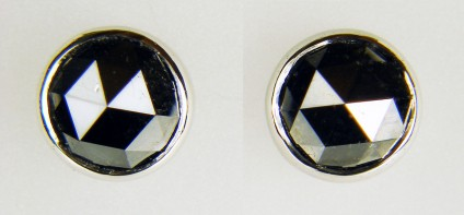 Rose cut black diamond earstuds in platinum - 5.26ct pair of rose cut black diamonds rubover set in simple platinum earstuds with loss-proof Alpha fittings. Earstuds are 9.4mm in diameter