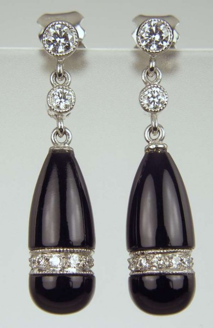Black onyx & diamond earrings - Hand carved black onyx briolette drops set with 0.31ct white diamonds in 18ct white gold. SPECIAL SALE PRICE was £1140 now £725.