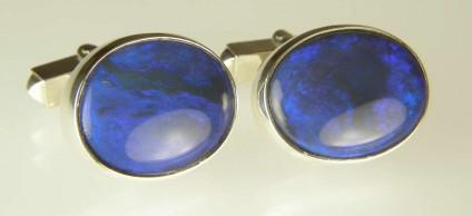 Black opal cufflinks - Beautiful luminous blue oval black opals set in silver as cufflinks