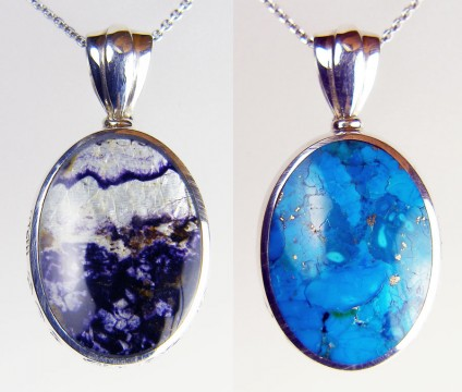 Chrysocolla & Blue John pendant in silver - Unusual reversible pendant with cabochon chrysocolla and Blue John (Derbyshire fluorite) mounted in silver