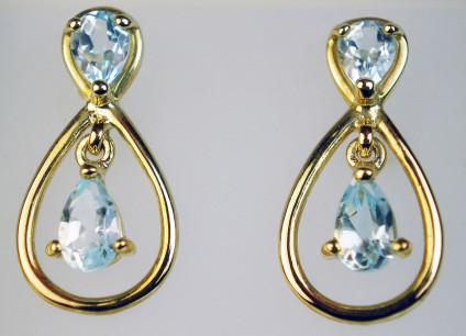 Blue topaz pear cut earrings - Dainty pair of blue topaz pear cuts set in 9ct yellow gold earrings