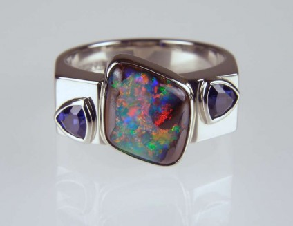 Boulder opal and sapphire ring in palladium - 2.52ct boulder opal set with 0.62ct sapphire trillions in palladium