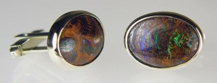 Boulder opal cufflinks - Boulder opal cufflinks in 9ct white gold