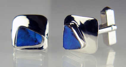Boulder opal cufflinks in silver - 5.8ct matched pair of boulder opal cabochons from Queensland, Australia set in silver