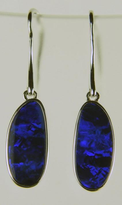 Boulder opal earrings - Boulder opal doublets set in silver as drop earrings