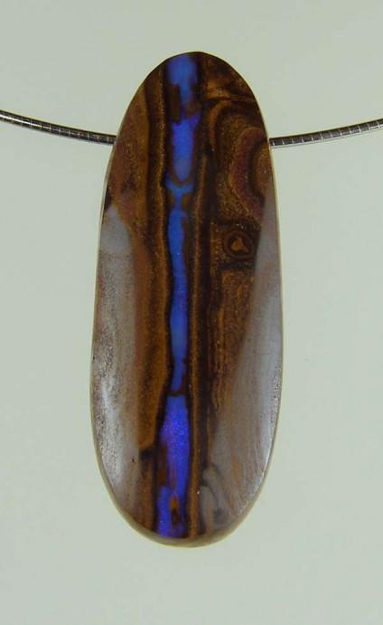 Boulder opal pendant - 33.94ct boulder opal bead 3.1 x 1.2cm