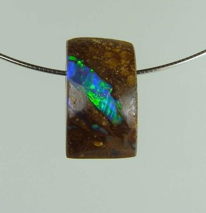 Boulder opal pendant - 15.63ct boulder opal bead 1.8 x 1.0 cm