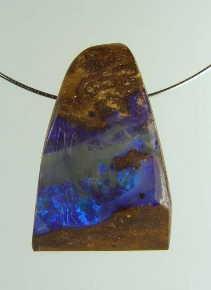 Boulder opal pendant - 86.94ct boulder opal bead 3.7 x 2.3cm