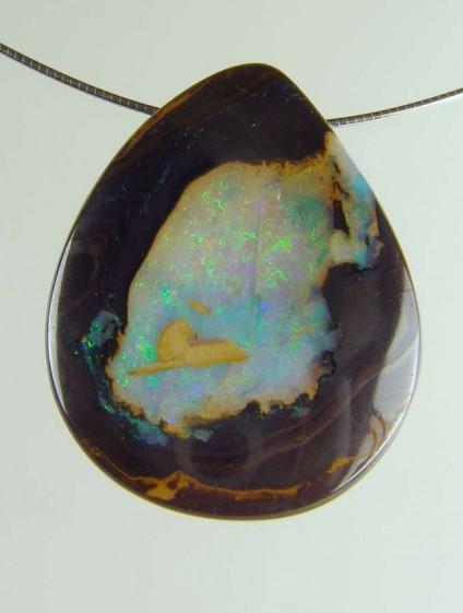 Boulder opal pendant - 68.26ct boulder opal bead 3.8 x 2.7cm