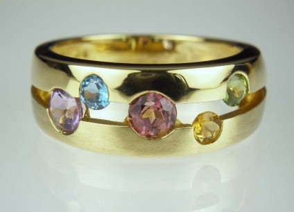 Gemset 'Bubble' Ring - 18ct yellow gold ring bezel set with a variety of Brazilian gemstones, all round cut.