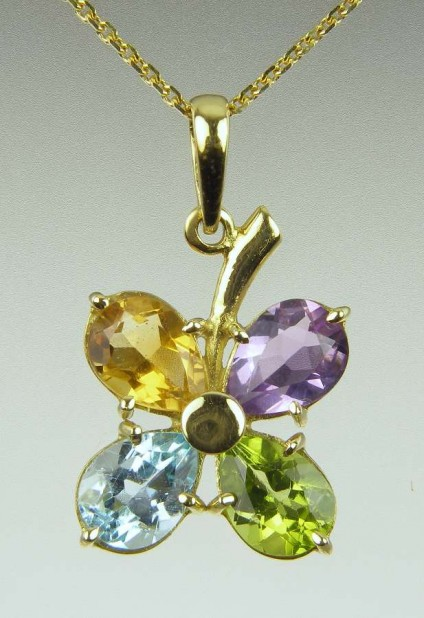 Flower Pendant in Pastel Coloured Gems - Pear cut Brazilian gems in peridot, citrine, blue topaz and amethyst totalling 1ct weight set in 18ct yellow gold on a matching chain