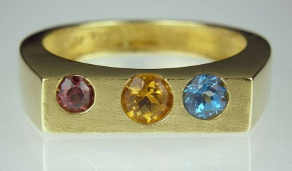 Gemset 'Bubble' ring - small - 18ct yellow gold ring bexel set with tourmaline, citrine & blue topaz.