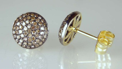 Brown diamond cluster stud earrings -