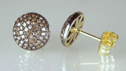 Brown diamond cluster stud earrings -