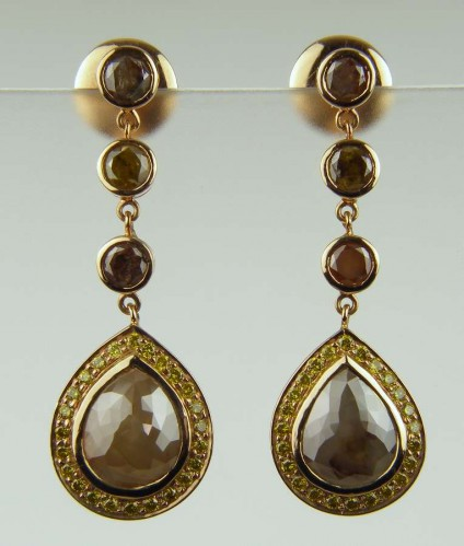Brown & yellow diamond earrings - 4.48ct brown diamond slice pear cuts set with 0.43ct yellow diamonds in 18ct rose gold