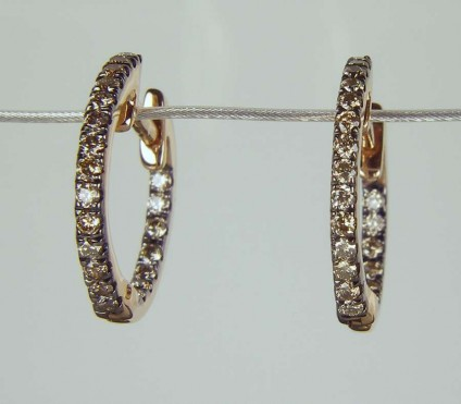 Brown diamond hoop earrings in 18ct rose gold - 0.31ct round brilliant cut brown diamonds set earring hoops made in 18ct rose gold