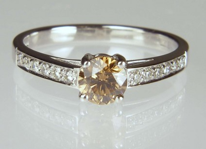Cinnamon diamond ring - 0.52ct round brilliant cut cinnamon diamond set with 0.15ct white diamonds in 18ct white gold