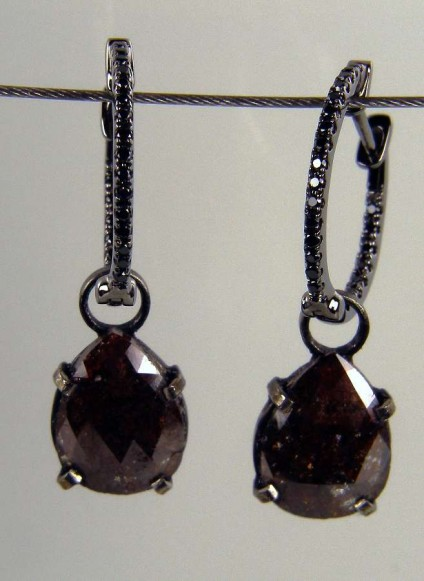 Brown diamond drop earrings -