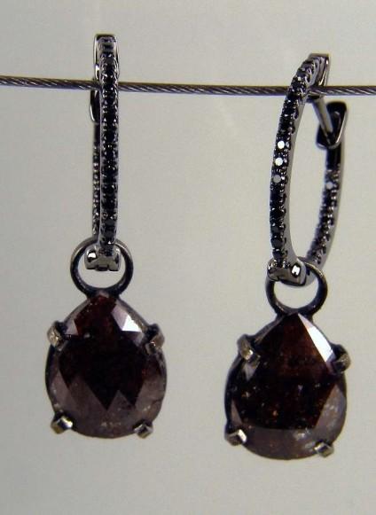 Brown diamond drop earrings - 3.08ct brown diamond slice pair set as detachable drops from 0.16ct black diamond hoop earrings in 18ct blackened gold