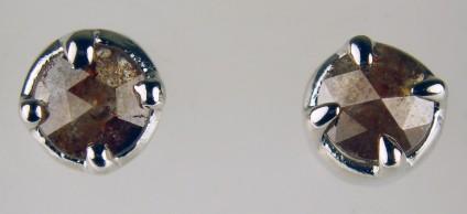 Brown diamond stud earrings - 5.5mm round rose cut brown diamonds set in simple silver stud earrings
