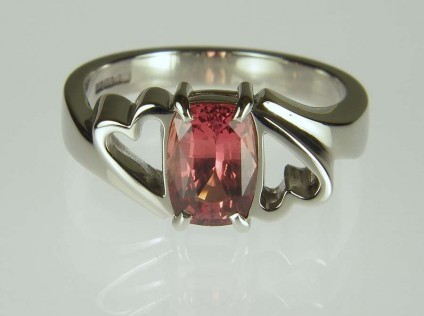 Orange pinkish brown sapphire ring in palladium - 1.64ct brownish pinkish orange cushion cut sapphire set in palladium