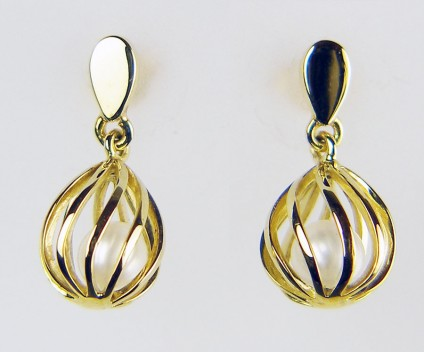 Caged pearl earrings in gold - Free moving 4.8mm cultured pearls held in delicate cage type earring drops in 9ct yellow gold