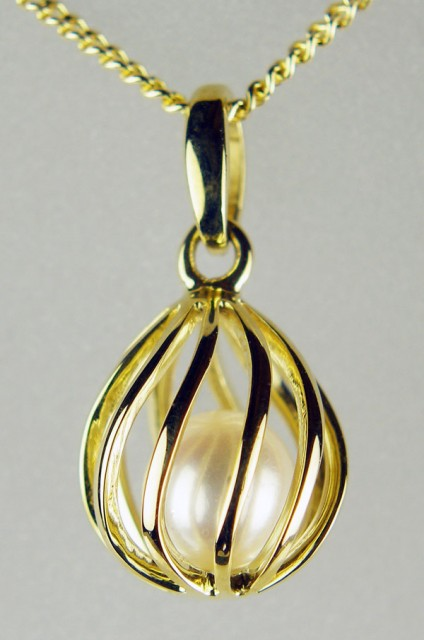"Caged pearl pendant in yellow gold - 5.8mm cultured pearl held in delicate 9ct yellow gold cage style pendant on 16"" fine trace chain in 9ct yellow gold"