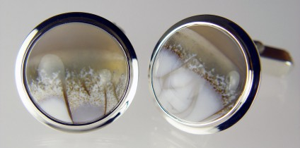 Chalcedony cufflinks in silver - Round cabochon African chalcedony pair in silver cufflinks