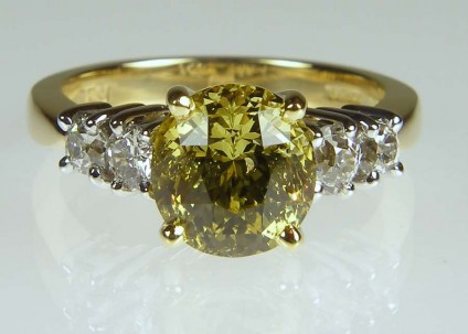 Chrysoberyl & diamond ring - 3.11ct vivid yellow mixed round cut chrysoberyl set with client's own round brilliant cut diamonds (removed from old rings) in 18ct yellow and white gold