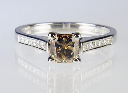 Cinnamon diamond ring in platinum - 1.04ct radiant cut cinnamon diamond (with GIA report) set with 0.25ct EF colour VS clarity princess cut diamonds in platinum