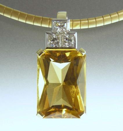 Citrine & diamond pendant - 13.06ct Brazilian citrine mixed cut set with 3 x 3.5mm princes cut diamonds in F colour in 18ct white & yellow gold