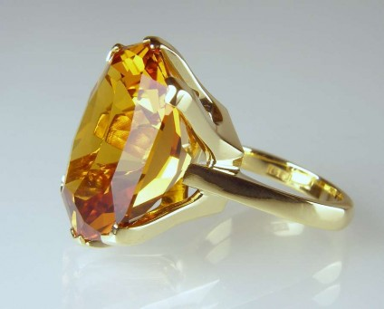 Citrine ring - 28.23ct fancy cut citrine (supplied by Ivan Williamson of Hascosay Gems) set as a ring in 18ct yellow gold