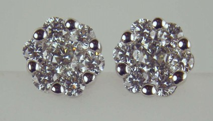 Diamond cluster earstuds - 0.50ct diamond cluster studs in 18ct white gold. Screw fittings. Diamonds G colour SI1 clarity