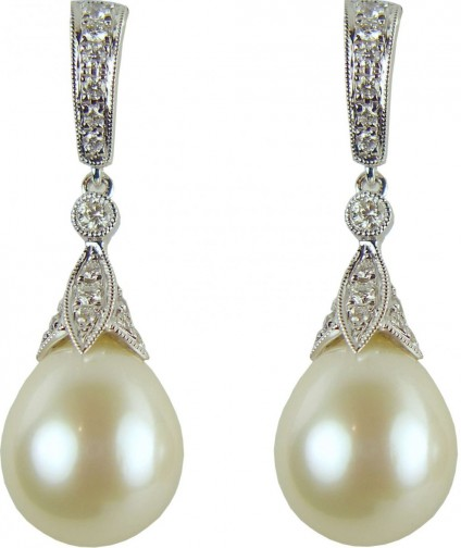 Pearl & diamond earrings - 0.50ct diamond and southsea pearl drop earrings in 18ct white gold
