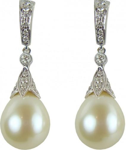 Pearl & diamond earrings - 0.50ct diamond and southsea pearl drop earrings in 18ct white gold