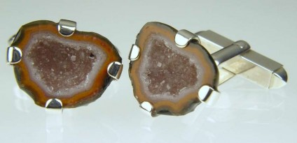 Agate Geode Cufflinks - Miniature agate geodes from Mexico set in silver
