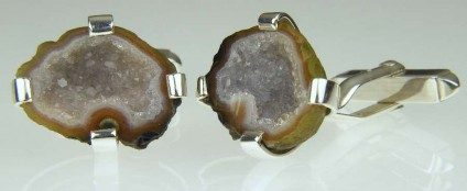 Agate Geode Cufflinks - Miniature agate geodes from Mexico mounted in silver
