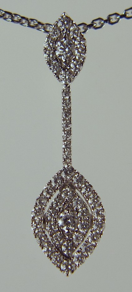 Delicate diamond drop pendant - 0.45ct round brilliant cut G colour VS clarity diamonds set in 18ct white gold