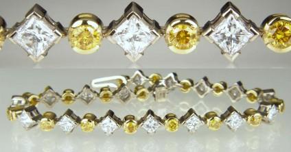 Diamond bracelet - Line bracelet of 4.69ct princess cut diamonds mounted in 18ct white gold and set with 1.63ct of natural yellow diamonds in 18ct yellow gold