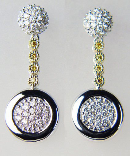 Diamond cluster eardrops in 18ct white gold - 18ct white and yellow gold eardrops set with 0.57ct of round brilliant cut white and yellow diamonds. Eardrops are 26mm long & 10mm wide. Truly sparkly, really beautiful. Amazing value!