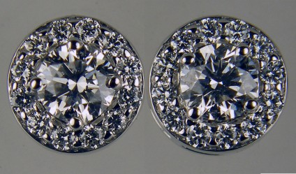 0.75ct diamond cluster earrings in 18ct white gold - G/VS grade diamonds in 18ct white gold cluster earstuds