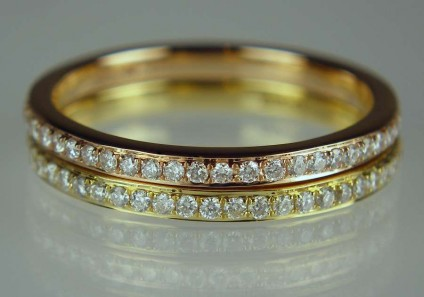 Diamond Eternity Rings - 0.5ct diamonds on each eternity ring band in 18ct rose and yellow gold