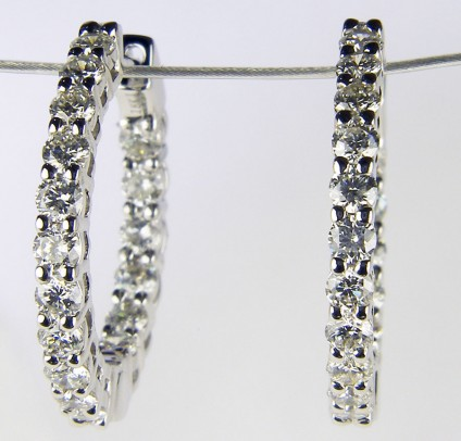 Diamond hoop earrings - 1.50ct total diamond weight hoop earrings. Diamonds are G colour VS clarity and set in 18ct white gold.