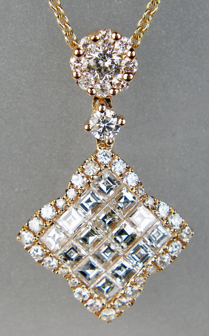 """1.25ct diamond pendant in 18ct rose gold - Exquisite, super sparkly pendant in 18ct rose gold, with 0.75ct invisibly set Asscher cut diamonds & 0.50ct round brilliant cut diamonds all in G colour VS clarity, and supended from a 15-21"""" adjustable 18ct rose gold trace chain. This is an exceptionally lovely piece, a materpiece of skilled stone setting and modern craftmanship. The pendant is 15x24mm."""
