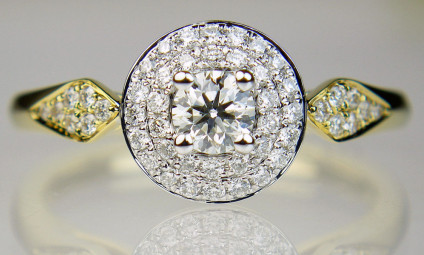 0.51ct diamond double halo ring in 18ct yellow gold - Truly spectacular, vibrant and sparkling ring. The very best of diamond clusters with so much bang for buck, it has to be seen to be believed! Total diamond weight 0.51ct, diamond quality F colour VS clarity. Ring in 18ct yellow gold