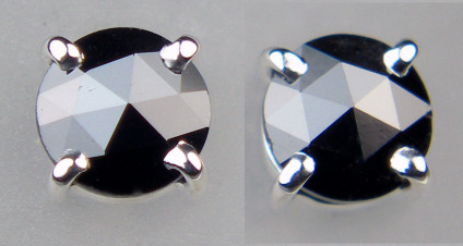 0.50ct black diamond rose cut earstuds in 18ct white gold - Dainty rose cut rose black diamonds in 18ct white gold, diamond pair weighs 0.50ct and the earstuds are 4.2mm in diameter.