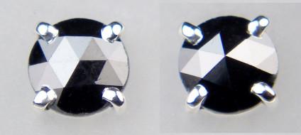 0.64ct rose cut black diamond earstuds in 18ct white gold - 4.4mm round domed rose cut black diamonds totalling 0.64ct, claw set in 18ct white gold earstuds