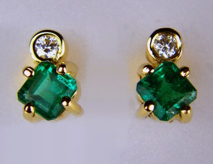 Emerald and Diamond Earrings - 0.56ct emerald and 0.06ct diamond square earrings in 18ct yellow gold